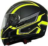 Klapphelm Integralhelm Helm Motorradhelm RALLOX 109 schwarz gelb neon grün matt mit Sonnenblende (S, M, L, XL) Größe M - 4