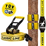 Gibbon Slacklines Classic Line with Tree Wear, Yellow, 15 meters, 12.5m Band + 2.5m Ratchet Tape, Beginner, beginner and beginner, including tree protection, ratchet protection and ratchet restraint, 50 mm wide, perfect leisure sport