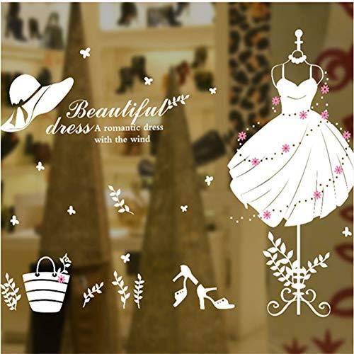 (Mddrr Schöne Schwarz Weiß Kleid Mode Wandaufkleber Mädchen Schlafzimmer Korridor Kleidung Abnehmbare Selbst Speichern Dekoration Klebstoff Aufkleber)