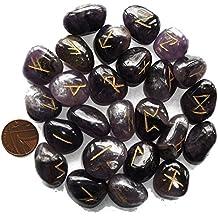 Amethyst Rune Stones & Tasche, älteren Futhark Pagan Nordic Runic Alphabet für Fortunetelling und Wahrsagung