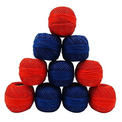 Rouge Bleu Crochet Coton Set de 10 pièces de fil à broder tricoter écheveau Frivolité