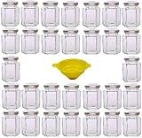 Viva Haushaltswaren - 30 x kleines Einmachglas 110 ml mit silberfarbenem Deckel, sechseckige Glasdosen als Marmeladengläser, Gewürzdosen, Gastgeschenk etc. verwendbar (inkl. Trichter)