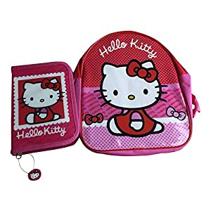 Mochila escolar de Hello Kitty con estuche para lápices