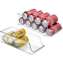 mDesign Boite Alimentaire pour réfrigérateur et Armoire de Cuisine (Lot de 2) - bac Alimentaire idéal pour Neuf canettes - Rangement frigo Pratique - Transparent