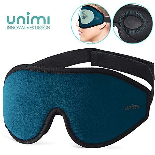 Unimi Premium Schlafmaske Damen und Herren, NULL-Druck 3D konturierte verbesserte Augenmaske, verstecktes Nasenflügel-Design ermöglicht absolute Dunkelheit, 100{728e18bf3969f892d186ef2cb48130bb7563a50b1b28ae964f762b66056fb201} hautfreundliche Seide Augenmaske