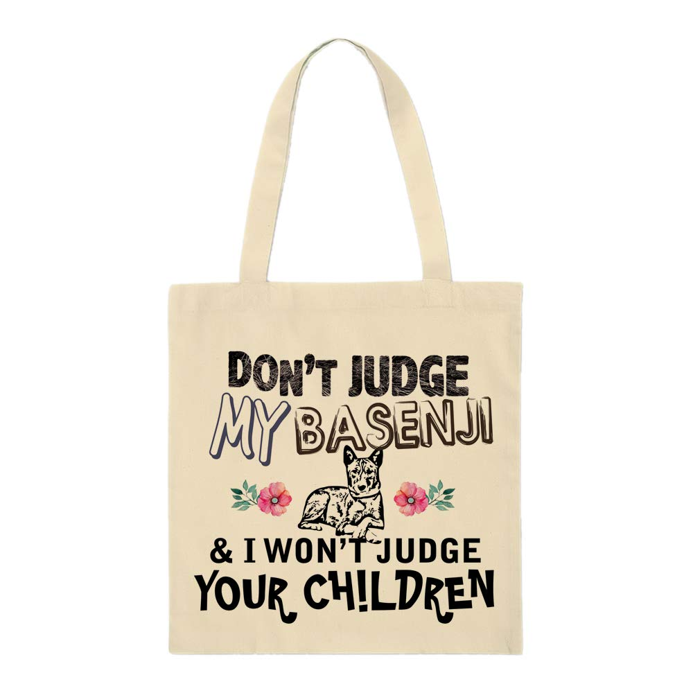 Don't Judge my pet & i won't judge your children Funny Animal Art print themed Eco-Friendly Tote Bag for Animal Lovers-Cotton Shopping Bag.