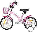 PROMETHEUS Kinderfahrrad 12 Zoll Mädchen in Rosa Lila & Weiß mit Stützrädern | Seitenzugbremse und Rücktrittbremse | ab 3 Jahren | 12