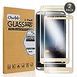 [2 Pezzi] Owbb® Gold Vetro Temperato Pellicola Per ZTE AXON 7 Full Coverage Protettiva Protezione 9H Durezza 99% Alta Trasparente