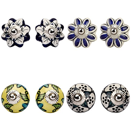 Amber Shine Ceramic Door Knobs Handpainted & Decorative/ Door Handles/ Cabinet/ Wardrobe / Almirah / Drawer / Door Pulls/ Cabinet Pulls/ Drawer Pulls (Set of 8)  available at amazon for Rs.399