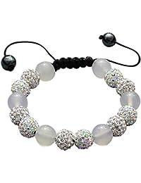 Revoni 7 in. Black & White Faceted Glass Crystal Bracelet on Elastic Nylon Strand, 3/8 in. (10mm) wide
