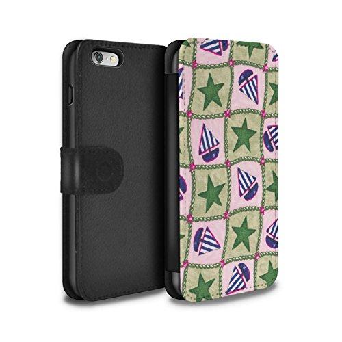 Stuff4 Coque/Etui/Housse Cuir PU Case/Cover pour Apple iPhone 6 / Vert/Rouge Design / Bateaux étoiles Collection Vert/Bleu