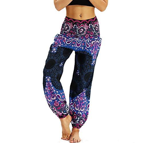 959e4b58b Nuofengkudu Mujer Pantalones Harem Tailandes Hippies Vintage Boho Flores  Verano Alta Cintura Elastica Casual Danza Yoga