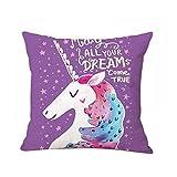 beiguoxia Cute Cartoon Unicorn Pillowcase Sofa Waist Cushion Cover Car Home Decor