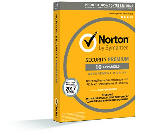 Norton Security 2017 Premium (Edition Familiale / 1 an) + Sauvegardes & Contrôle Parental (PC/Mac/Android/iOS)