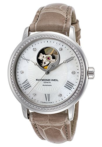 Raymond Weil 2827-Ls4-00966 Women's Maestro Diamond Auto Beige Genuine Alligator Mop Dial Watch