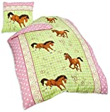Herding 445749050 Bettwäsche Pferde Motiv, Kopfkissenbezug: 80 x 80 cm + Bettbezug: 135 x 200 cm, 100 % Baumwolle, Renforce