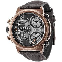 POLICE Herren-Armbanduhr XL PYTHON Analog Quarz Leder P13595JSQBZ-13