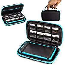 ORZLY® 2DS XL Case, Carry Case for New Nintendo 2DS XL - Protective Hard Shell Portable Travel Case Pouch for New 2DS XL Console with Slots for Games & Zip Pocket - BLUE on Black