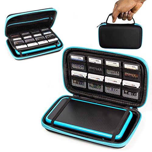 ORZLY® 2DS XL Case, Tasche für das Neu Nintendo 2DS XL - Aufbewahrungstasche / - Hartschalen Case/Cover/Hülle/Schutzhülle für die New Nintendo 2DS XL Konsole & Accesoires - BLAU auf Schwarz