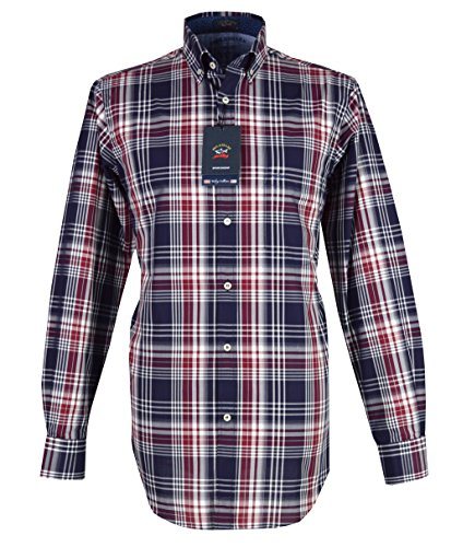 Paul & shark camicia casual - con bottoni - maniche lunghe - uomo navy/red check xx-large