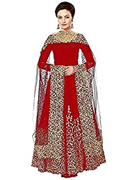 Salwar Suit For Women's Heavy Taffeta Silk Embroidered Semi-Stitched Anarkali Dress Material Western Wear Fashionable...