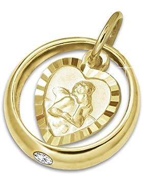 CLEVER SCMUCK Goldener kleiner Taufring glänzend Zirkoniastein weiß mit Einhänger Engel herzförmig seidenmatt...