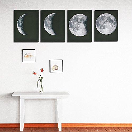 Wandaufkleber ,Frashing 4PCS moderner Kunst Druck auf Segeltuch Plakat Zusammenfassung der Mond gerahmter Hauptwand Dekor