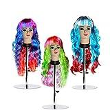 Ondulés Longs Perruques Cosplay - 3 Perruques (68cm) Multicolores Synthétiques Perruques Ondulés et Longs pour les Femmes - Perruques avec Franges pour Halloween, Carnavals et Jeux de Rôle