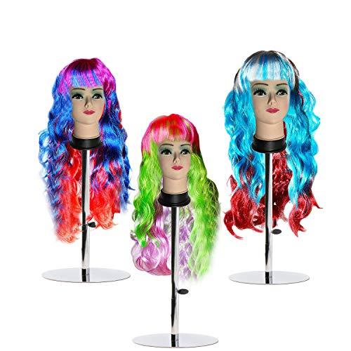 Kurtzy confezione 3 parrucche multicolore ondulate lunghe sintetiche donne - parrucche ondulate travestimento, parrucche halloween, parrucche carnevale, parrucche costume feste frangia