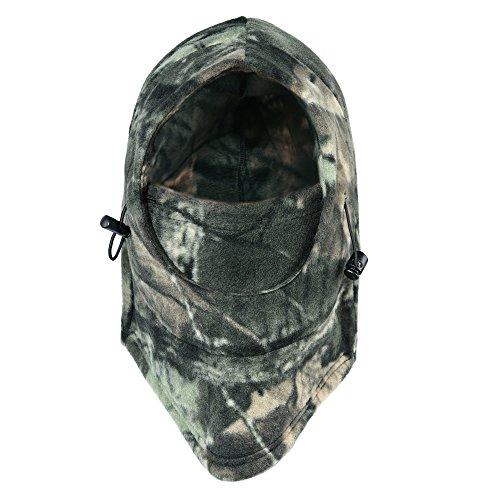 Tagvo Caza Pasamontañas Máscara, camuflaje forro de invierno pasamontañas capucha táctica, a prueba de viento camuflaje pasamontañas sombreros de cuello caliente de tamaño universal elástico