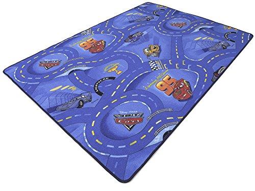 Disney Pixar World of Cars blau HEVO® Strassen Spielteppich 145x200 cm mit dunkelblauer Kettelkante (Disney Cars-uhren Für Jungen)