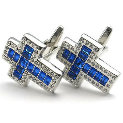 konov-jewellery-2pcs-classic-elegant-blue-cubic-zirconia-cross-mens-cufflinks-wedding-color-blue-sil