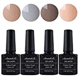 Annabelle UV Nagellack Soak Off UV Gel Nagellack Nail Art Top Coat Base Coat (7.3ml/pc Lot de 4) 012