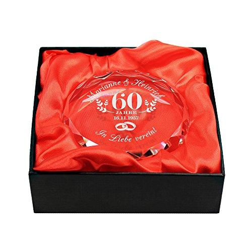 Gravado Kristall aus Glas mit Gravur zur Diamant-Hochzeit - Motiv Ringe - Personalisiert mit [Namen] und [Datum] - Briefbeschwerer - Geschenkbox - Geschenkidee zum 60. Hochzeitstag - Dekoration (Briefbeschwerer Diamant)