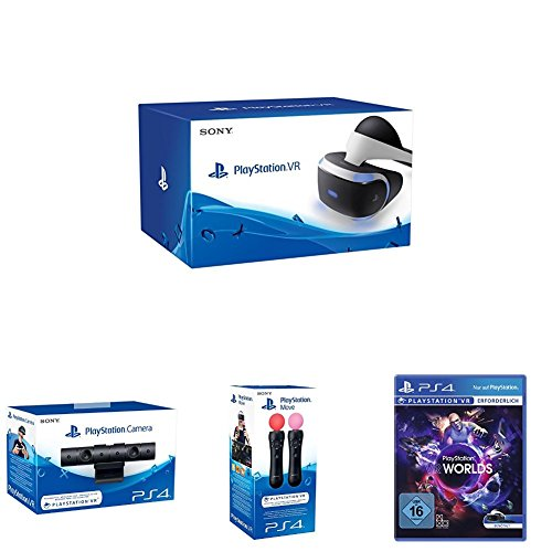 PlayStation VR + PlayStation Kamera (2016) + PlayStation Move Motion-Controller - Twin Pack + PlayStation VR Worlds