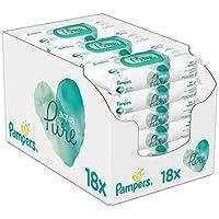 Pampers Aqua Pure Feuchttücher, mit 99% Purem Wasser, Dermatologisch Getestet, 18er Pack (18 x 48 Stück)