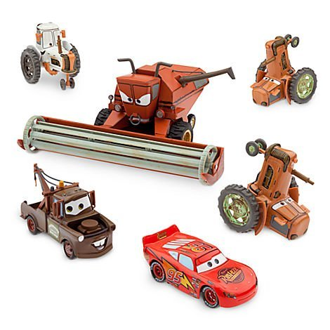 Disney Pixar CARS Movie Exclusive Limited Edition Set TRACTOR TIPPING DELUXE DIE CAST SET mit FRANK THE COMBINE / Mähdrescher (Maßstab 1:24), 2 TRACTORS, 1 COW TRACTOR, LIGHTNING MCQUEEN, MATER / HOOK (Maßstab 1:43) - Metall (Disney Cars Frank-set)