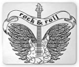Rock and Roll Mouse Pad, Calligraphic Text Guitar Icon Ornamental Tribal Feathers Artful Print, Standard Size Rectangle Non-Slip Rubber Mousepad, Black and White