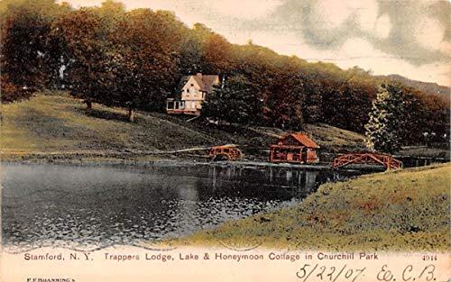 Trappers Lodge, Lake & Honeymoon Cottage Stamford, New York Postcard -