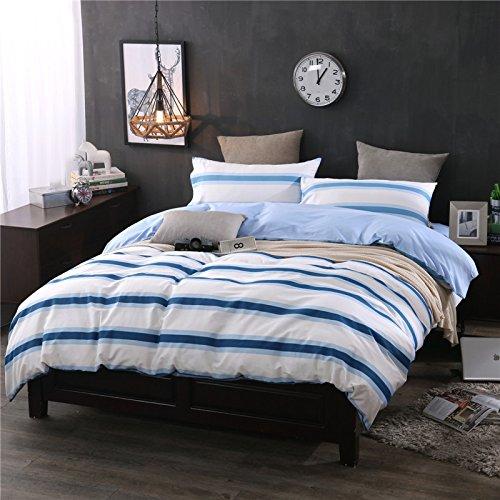 BB.er Reine Baumwolle gestreift Streifen in Europa und in den Vereinigten Staaten Wind Betten Vier Anzug Bettwäsche Bettbezug Kopfkissenbezug, Blaue Streifen, 220 x 240 cm -