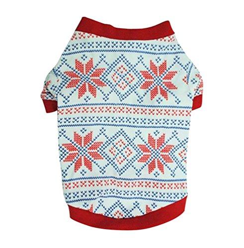YiJee Weihnachten Haustier Kleidung Schneeflocke Muster Mantel fur Hunde und Katzen Rot (Kostüm Muster Schneeflocke)
