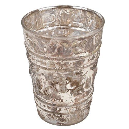 Dadeldo Windlicht rund konisch Vintage Design Glas gold antik Teelichthalter (12x9x9cm)