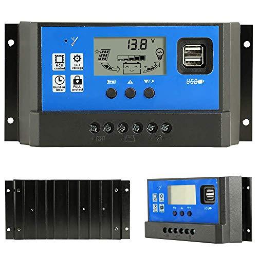 50 A Laderegler, Solarpanel, Laderegler, 12 V/24 V, automatischer Paremeter einstellbarer LCD-Display, Solarstromregler mit Dual-USB-Last-Timer-Einstellung -