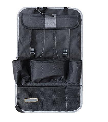 Siège d'auto Retour Organisateur - EssVita Organiseurs pour voiture Extra Large multi Pocket Storage iPad, Snacks, Cans - Multi Purpose Poussette Organizer Auto Seat Back Protector Gris