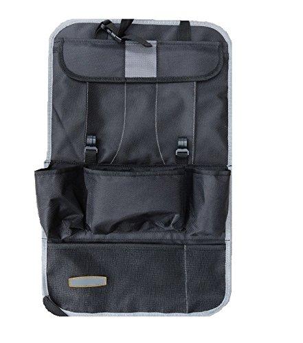 EssVita Autositzrück Organizer Extra Large Multi-Taschen-Speicher iPad, Snacks, Dosen - Multi Purpose Kinderwagen Organizer Auto Sitz Rückenprotektor (Grau) (Ess-paket)