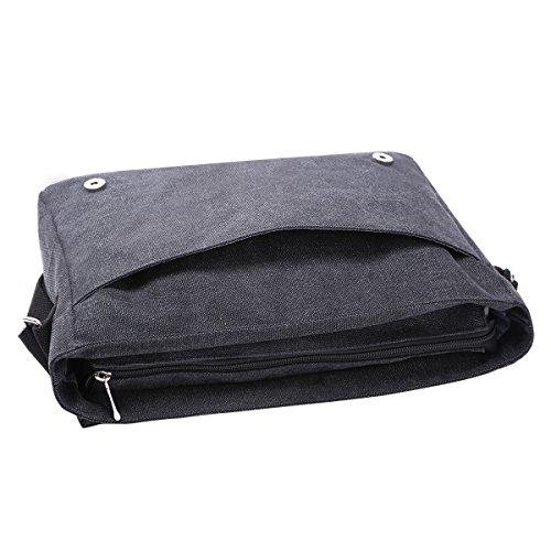 Eshow Herren Canvas Freizeit Täglich Umhängetasche Schultertasche Taschen Retro Messenger Bag 14 Zoll Laptop Geeign, (Blau 3) Schwarz 2