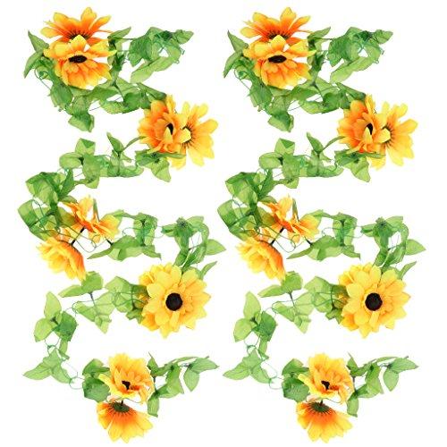 Sharplace Kunstpflanze Künstliche Pflanze Sonnenblumen DIY Girlande Dekoration Set of 2pcs