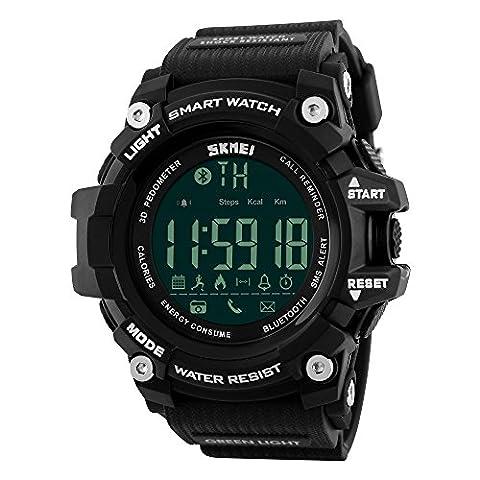 Farsler Smart Bluetooth 4.0multifonction pour homme 50m étanche podomètre montre les calories suivi de prise de vue à distance Réveil Neutre Sports de plein air électronique digital Watch (Noir)