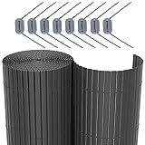 SONGMICS PVC Sichtschutzmatte Grau 80 x 600 cm (Zusammengesetzt aus 2 Matten mit 1 x 300 cm + 1 x 300 cm Länge) GPF086G