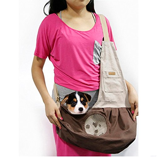 DOGOCO Nature Canvas Single Shoulder Carry Bag Carrier Pet Sling Bag with Extra Pocket for Cat Dog Puppy Kitty Rabbit Small Animals Brown (Reversible Canvas Tote)